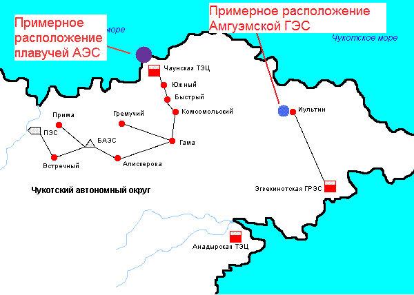 Схема Чукотской энергосистемы