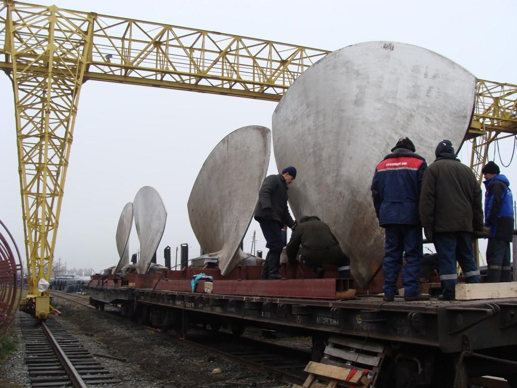Отправка лопастей рабочего колеса гидротурбины Чебоксарской ГЭС на реконструкцию в ОАО Силовые машины (Санкт-Петербург)